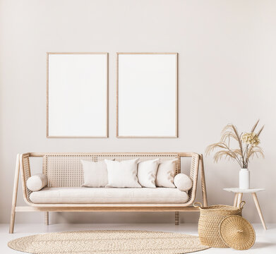 Frame mock up in farmhouse style living room with wooden trendy sofa and white vase with dried flowers