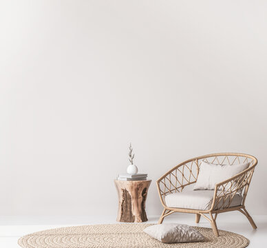 Mock up wall in Scandinavian living room design, home decor with rattan armchair and natural wooden table on empty bright background