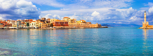 Crete island. Panorama of beautiful Chania old town. Greece travel and landmarks