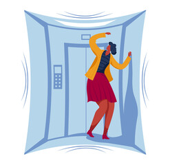Female character phobia of closed space, woman stuck small elevator area isolated on white, cartoon vector illustration. Girl fear panic attack, person afraid getting jammed lift.