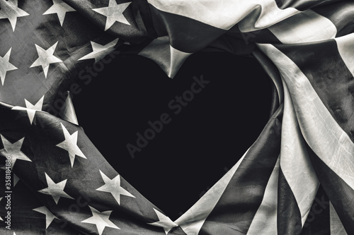 The concept of black and white american, July 4th Independence Day in America, USA  flag in shape of heart - space for text national public holiday card