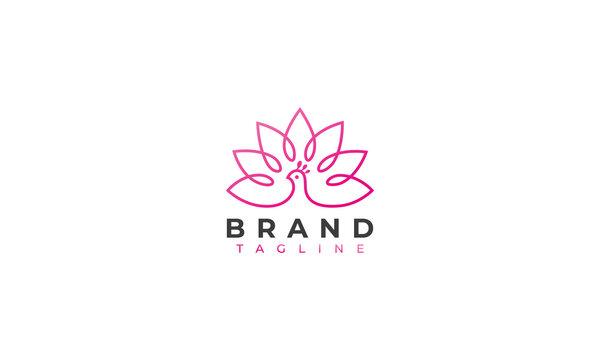 zen peacock logo design , a peacock with a tulips in line art logo design style , vector illustration