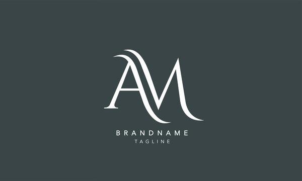 Alphabet letters Initials Monogram logo AM, A and M