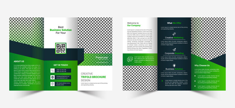 Modern trifold brochure green template design in creative abstract layout  fully editable