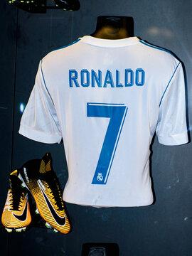 MADRID - APRIL 14, 2018: Cristiano Ronaldo 7 Portugal, Actual shirt of season 2017-2018, Museum of Real Madrid soccer team, Santiago Bernabeu Stadium