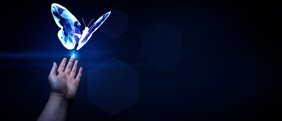 Abstract 3D illustration change future technology business concept with butterfly transform and human hand