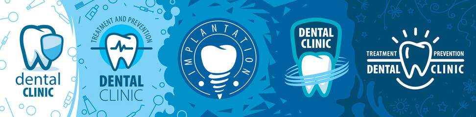 Vector illustration of a set of tooth logos for dentistry