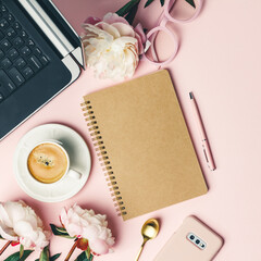Home office table desk, Flat lay blogger workspace mockup with coffee, computer, flowers and...