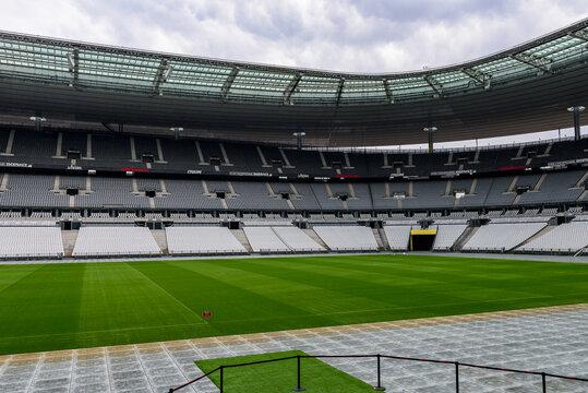 PARIS - APRIL 1, 2018: Stade de France, the national footbal and rugby stadium, Saint-Denis, Paris