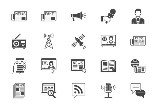 News flat icons. Vector illustration included icon as newspaper, mass media, journalist, fake, television broadcasting, blog influencer, podcast black silhouette pictogram for online press