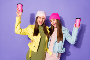 Fototapete - Portrait of nice attractive lovely cheerful cheery girls drinking latte having fun chill rest pause break isolated on bright vivid shine vibrant violet lilac purple color background