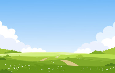 Wall Murals Pool Beautiful spring summer landscape, banner with green fields and meadows. Summer natural background with place for text, green grass, road, couds, sky. Sunny park. Vector illustration.