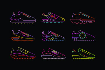 Neon colors isolated on a black background Fashion Sports Shoes vector icon set.