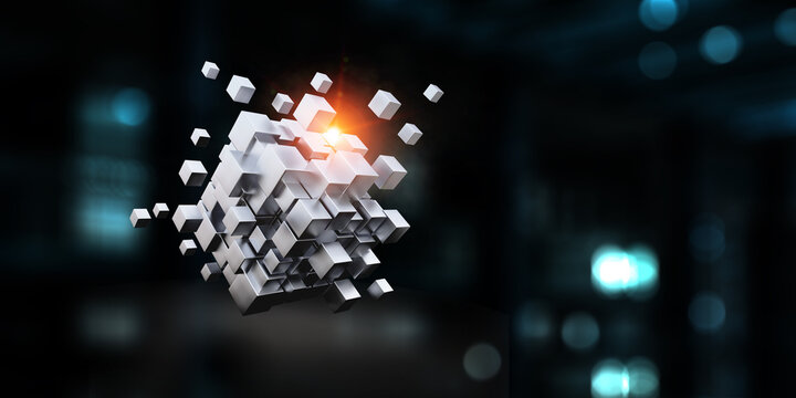 Glowing cubes. Innovation and creativity concept