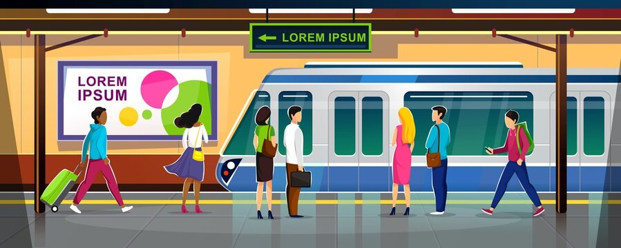 Modern metro station with people and train vector illustration. Crowded subway platform flat style. Underground interior with ads banners. Railroad and urban transportation concept