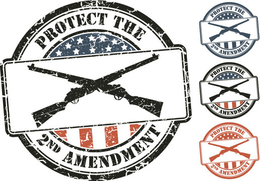 Patriotic grunge stamp; crossed rifles. Protect the Second amendment U.S. constitution