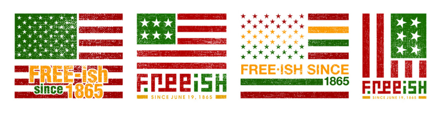 Free-ish Since June 19, 1865. Freeish and Juneteenth Design Set of Banner. Vector Logo Illustration.