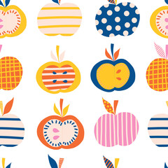 Apples seamless vector pattern. Cute abstract apple illustration background. Fruits in blue, pink, orange, yellow Scandinavian style. Use for kids products, children decor, fabric, kids fashion