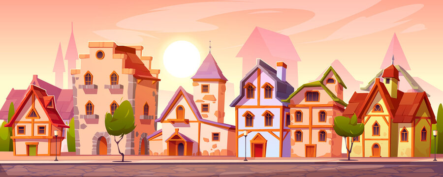 Medieval town street with old european buildings. Vector cartoon cityscape with vintage facade of houses with brick wall and wooden doors, trees, stone road and pavement