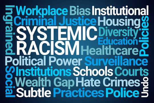 Systemic Racism Word Cloud on Blue Background
