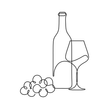 Bottle of wine with wineglass and grape bunch in continuous line art drawing style. Minimalist black linear sketch isolated on white background. Vector illustration