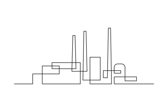 Industrial plant in continuous line art drawing style. Abstract factory buildings minimalist black linear design isolated on white background. Vector illustration