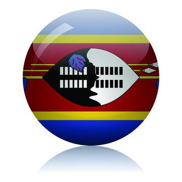 Swaziland flag glass button vector illustration