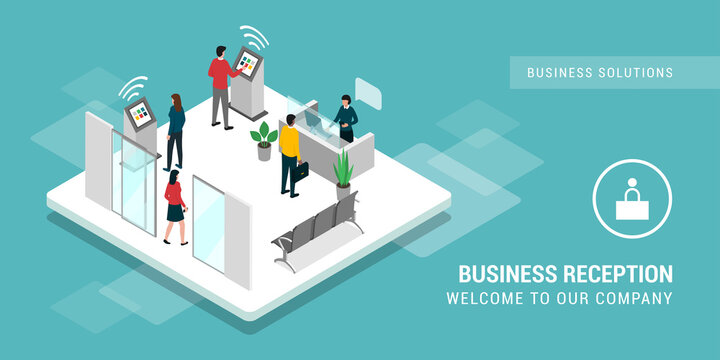 Business reception with helpdesk and touch screen kiosks