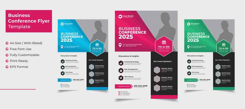 Creative and clean business conference flyer with color variation