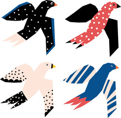 Flying birds abstract papercut style vector icons. Scandinavian birds illustration collage style