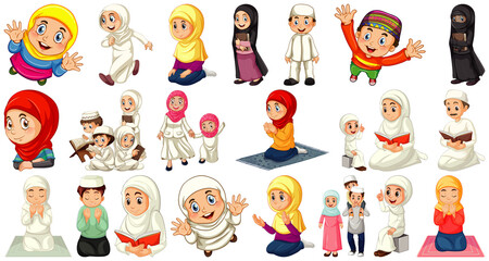 Foto op Plexiglas Kids Set of different muslim people cartoon character isolated on white background