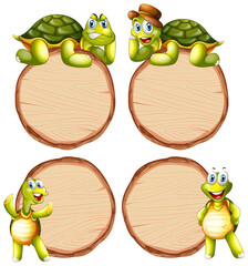 Tuinposter Kids Board template with cute tortoise on white background