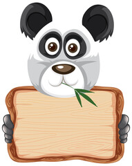 Fotobehang Kids Board template with cute panda on white background