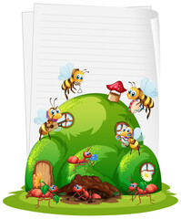 Foto op Plexiglas Kids Blank paper with ant nest and bees isolated