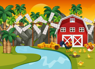 Farm scene in nature with barn and river and chicken