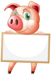 Foto op Plexiglas Kids Blank sign template with cute pig on white background
