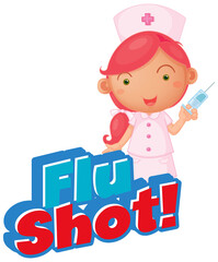 Font design for word flu shot with nurse and vaccine