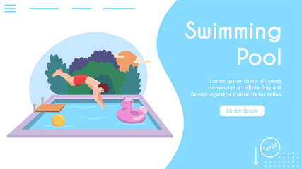 Vector banner illustration of man jumping into pool