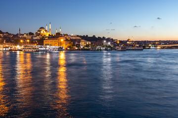 Wall Murals Place of worship Sunset of Golden Horn near Galata Bridge in Istanbul, Turkey