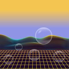 Fotorolgordijn Retro sign abstract shapes fluid background