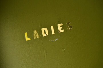 A sign for the ladies' toilets inside The Greenwich Pensioner pub in London