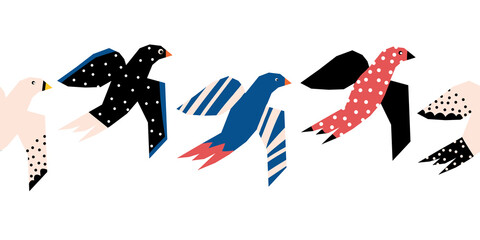 Flying birds seamless vector border. Repeating pattern with abstract papercut style Scandinavian birds.