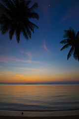 Tuinposter Centraal-Amerika Landen vertical photo, sunset and night moon on the beach on Koh Samui in Thailand, coconut trees silhouettes, sunbathing and swimming in the sea, ocean and sky, relaxation and enjoyment