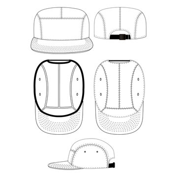 Five panel vector illustration flat outline template clothing collection accessories hat