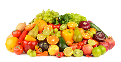 Wall Mural - Collection of multi-colored bright fruits and vegetables isolated on white