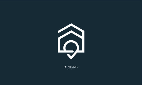 A line art icon logo of a house location, home location, pinpoint