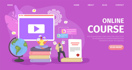 Online education, student course technology, vector illustration. Knowledge in computer internet, web distance study. People training in online university, e-learning flat landing design. Wall mural