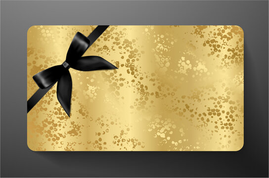 Gift card with back bow (ribbon) on gold background. Golden blank template useful for any design, shopping card (loyalty card), voucher or gift coupon