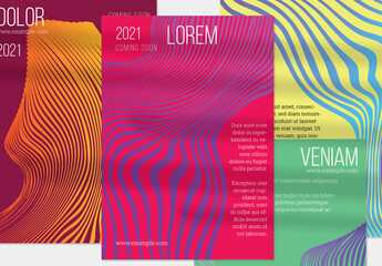 Bright Pink Orange Green Vertical Flyer Layout with Abstract Wavy Shape
