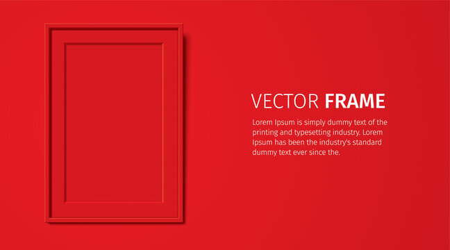 Red wooden frame with Passepartout, hanging on the red wall background. Realistic blank frame mockup, for text or image placement. Empty elegant frame vector template with copy space.